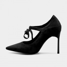 Jady Rose Strappy Bow Suede Black Pumps (16DR10086)
