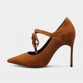 Jady Rose Strappy Bow Suede Brown Pumps (16DR10086)