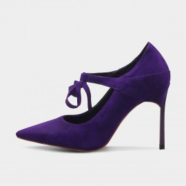 Jady Rose Strappy Bow Suede Purple Pumps (16DR10086)
