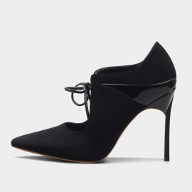 Jady Rose Patent Heelcap Leather Black Pumps (16DR10093)