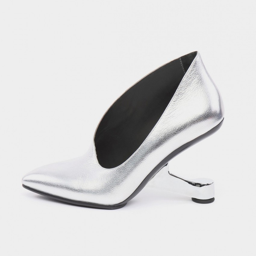 Jady Rose Boaty Chair Heel Leather Silver Pumps (16DR10101)