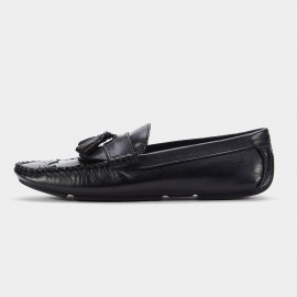 Herilios Faux Weave Bottom Leather Black Loafers (H6105D55)