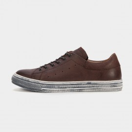 Herilios Odd Pinhole Leather Brown Sneakers (H6105D60)