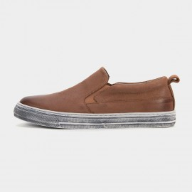 Herilios Full Distressed Leather Brown Loafers (H6105D61)