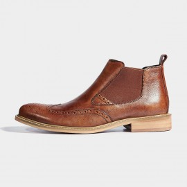 Herilios Slip On Wing Tip Leather Brown Boots (H6305G75)