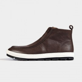 Herilios Contrasting Sole Leather Coffee Boots (H6305G79)