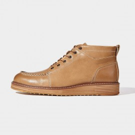Herilios Stitching Silhouette Leather Apricot Boots (H6305G84)