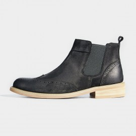 Herilios Fine Wooden Heel Leather Black Boots (H6305G86)