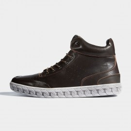 Herilios Chain Outsole Leather Coffee Sneakers (H6305G90)