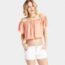 HaoYouDuo Open Shoulder Pink Top (24203061)