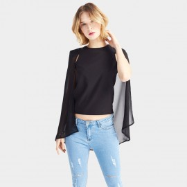 HaoYouDuo Open Sleeves Black Top (24303019)