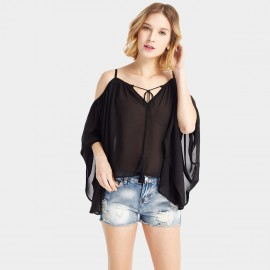HaoYouDuo Ribbon Poncho Black Top (25303010)