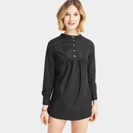 HaoYouDuo Buttoned Black Skirt (25306009)
