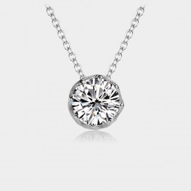 Caromay Crystal Bud Silver Necklace (X0868)