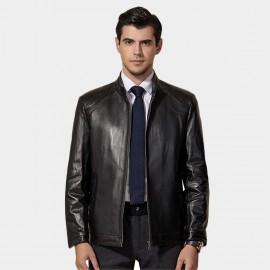 Beverry Classic Regular Fit Black Leather Jacket (11BA01Q)