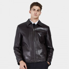 Beverry Classic Spread Collar Coffee Leather Jacket (11BA03)