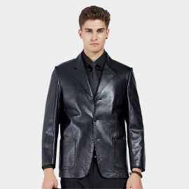 Beverry Notched Collar Topstitch Black Leather Jacket (11BA06)