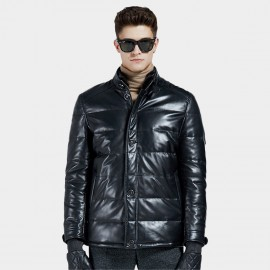 Beverry Double Closure Quilted Black Leather Jacket (13BA1316A)