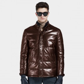 Beverry Double Closure Quilted Brown Leather Jacket (13BA1316A)