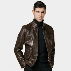 Beverry Sleek Zippered Cuff Brown Leather Jacket (14BAD1405)