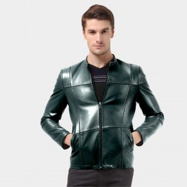 Beverry Crossed Seam Cyan Leather Jacket (14BAQ1315)