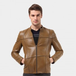 Beverry Crossed Seam Brown Leather Jacket (14BAQ1315)