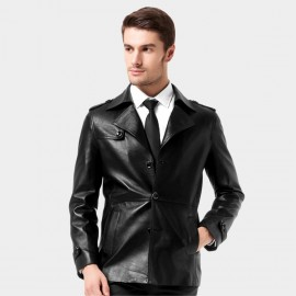 Beverry Modern Cinched Waist Black Leather Jacket (14BAQ1515)