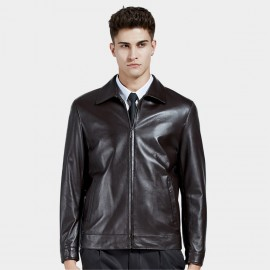 Beverry Simple Slash Coffee Leather Jacket (14BAQ8705)