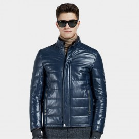 Beverry Stand Up Quilted Blue Leather Jacket (14BBD1322)