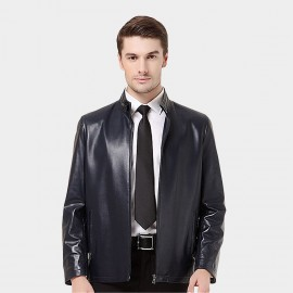 Beverry Snap Button Neck Blue Leather Jacket (14BFQ1320)