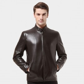 Beverry Snap Button Neck Coffee Leather Jacket (14BFQ1320)