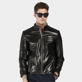 Beverry Shiny Star Black Leather Jacket (15BAQ1326)