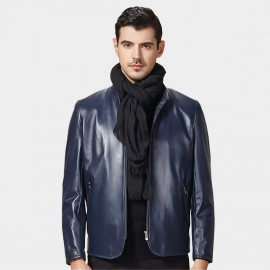 Beverry Curved Front Zipper Blue Leather Jacket (15BAQ1331)