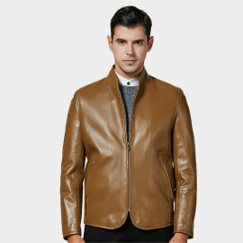 Beverry Curved Front Zipper Khaki Leather Jacket (15BAQ1331)