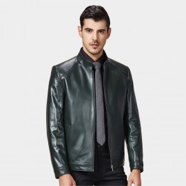 Beverry Off Shoulder Topstitch Green Leather Jacket (15BAQ1502)