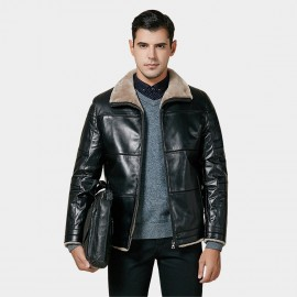 Beverry Shearling Collar Lining Black Leather Jacket (15BCD15210)