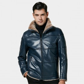 Beverry Shearling Collar Lining Blue Leather Jacket (15BCD15210)