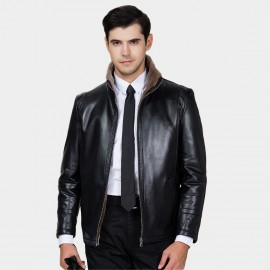 Beverry Faux Strap Arm Shearling Black Leather Jacket (15BCD9278)