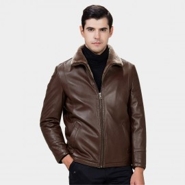 Beverry Faux Strap Arm Shearling Brown Leather Jacket (15BCD9278)