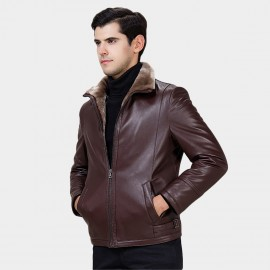 Beverry Faux Strap Arm Shearling Wine Leather Jacket (15BCD9278)