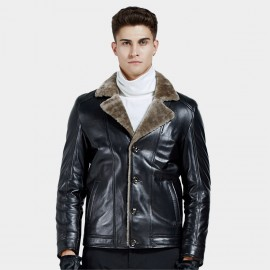 Beverry Notch Collar Shearling Black Leather Jacket (15BCD989)
