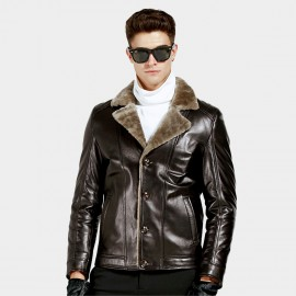 Beverry Notch Collar Shearling Coffee Leather Jacket (15BCD989)