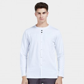 Beverry Embellished Seam Placket White Tee (16AAQ149)