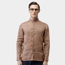 Beverry Banded Collar Concealed Button Khaki Shirt (16ACC0008)