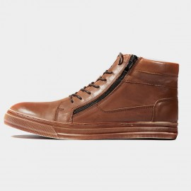 Herilios Curved Zip Leather Apricot Sneakers (H6305G99)