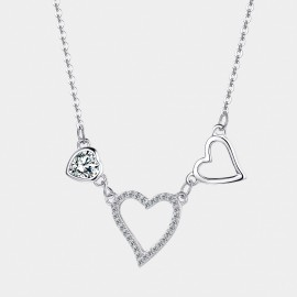 Seventy 6 Dazzling Hearts White Necklace (11094)