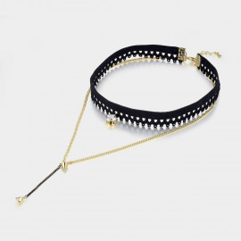 Caromay Double Layer Lace Champagne Gold Long Chain (X0859)