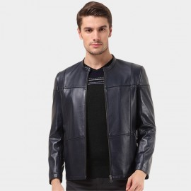 Beverry Crossed Seam Black Leather Jacket (14BAQ1315)