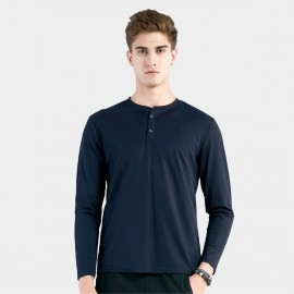 Beverry Close Neck Placket Navy Tee (16AAQ014)