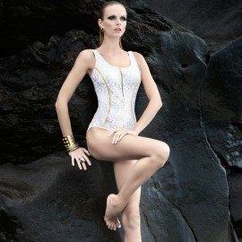 Balneaire Deep Back Gold Trim Lace White One Piece (60601)